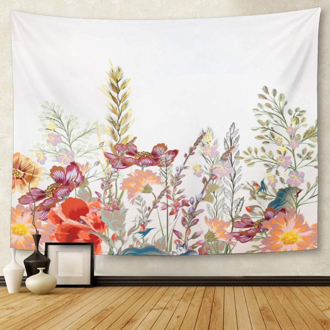 living room decoration pics.htm amazon com tompop tapestry watercolor pattern floral field  amazon com tompop tapestry watercolor