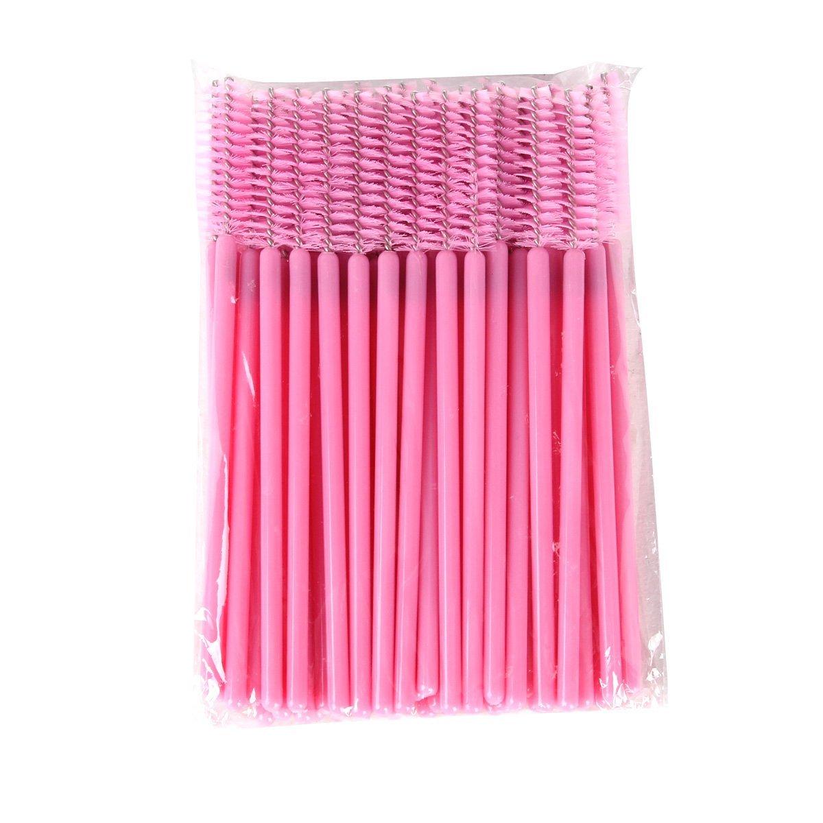 YESURPRISE 50 PCS Disposable Eyelash Brush Mascara Wands Applicator Spoolers Makeup Tool Pink