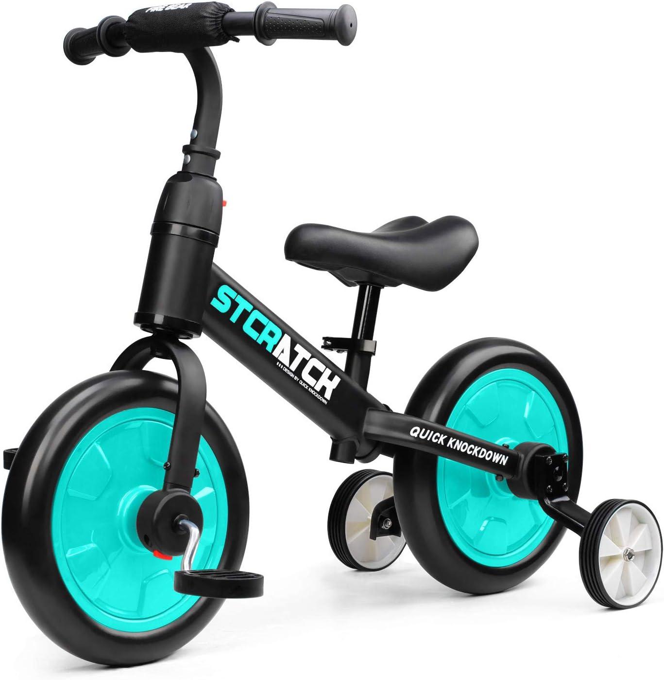 Fascol 3 en 1 Bicicleta de Equilibrio para 1-6 Años Niños, Triciclo para Bebes con Pedales Desmontables y Ruedas Auxiliares, Diseño de Asiento Elevador para Ajustar Alturas