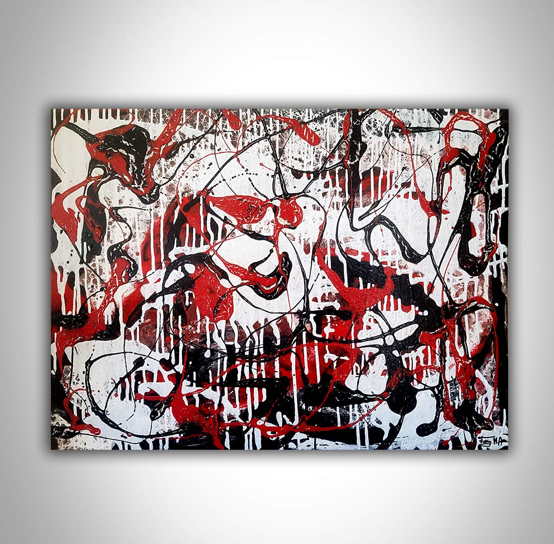 Amazon Com Black And White With Red Colors Abstract