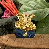 Collectible India Ceramic Gold Blue Plated Ganesha Statue for Car Dashboard with Raksha Bandhan Rakhi for Brother (5x4cm, Gold)