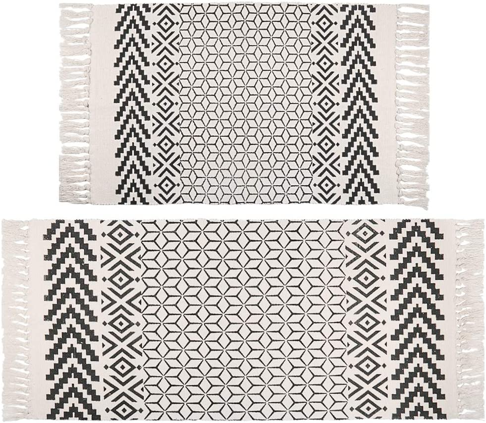 Pauwer Cotton Area Rug Set 2 Piece Washable Printed Cotton Rugs with Tassel Hand Woven Fringe Cotton Rug Runner for Kitchen, Living Room, Bedroom, Laundry Room, Entryway