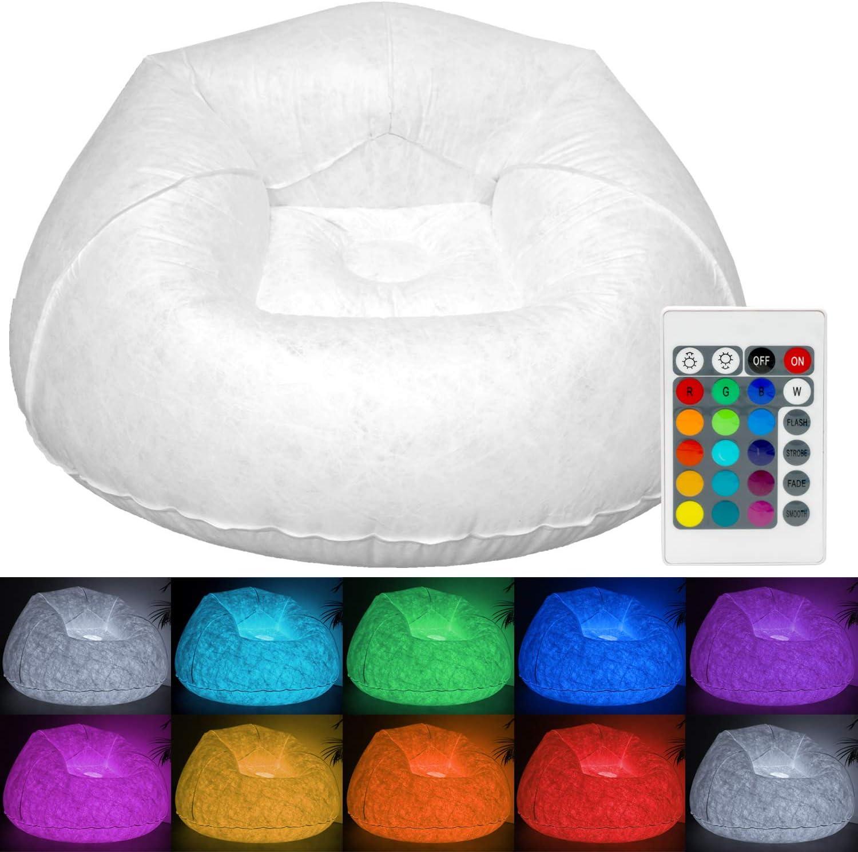 Tronje XL Sillón LED hinchable Asiento 120kg Cambio Color Silla Club Exterior Salón Beanbag Blanco