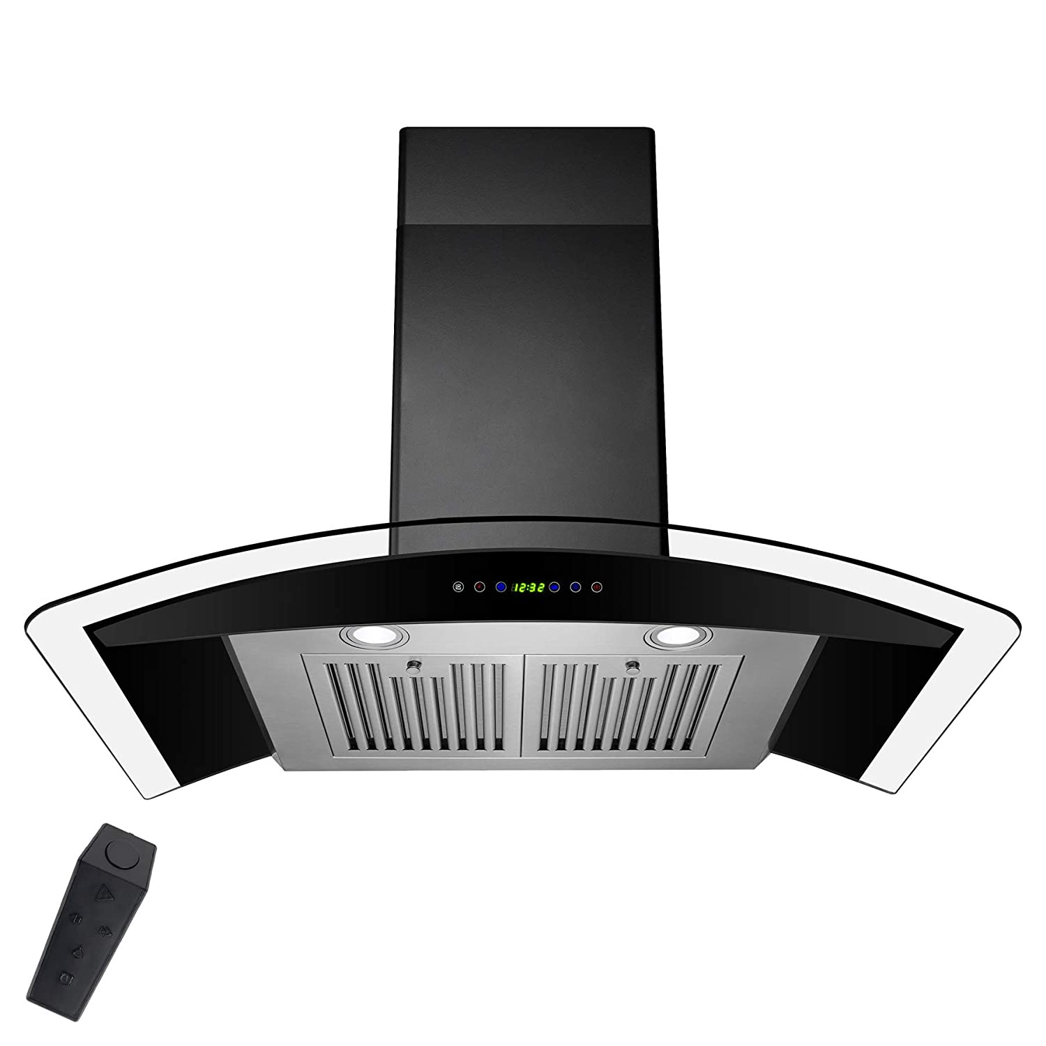 AKDY 36' Stainless Steel Tempered Glass Wall Mount Range Hood With Remote Control Touch Button Control