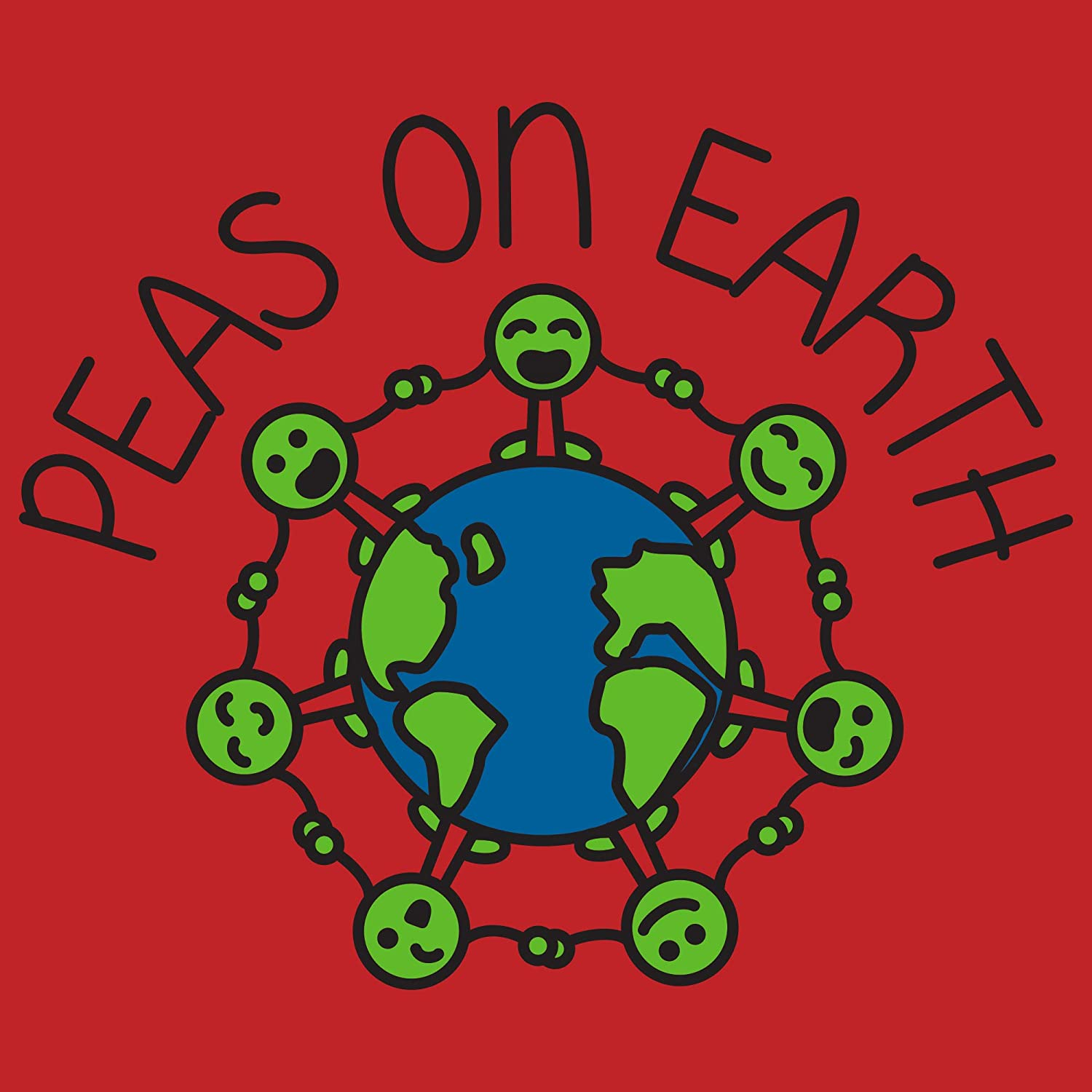 UGP Campus Apparel Peas On Earth Cute Funny Happy Vegetable Youth T Shirt