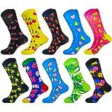 HIWEAR Vestido para hombre Colorido Diseño divertido Comodidad peinada Algodón Crew Pack de calcetines