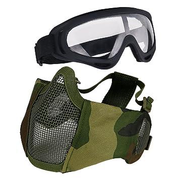 Aoutacc Airsoft - Juego de Máscaras Protectoras para Caza, Paintball y Tiro, Diseño de Media Cara, Camuflaje: Amazon.es: Deportes y aire libre
