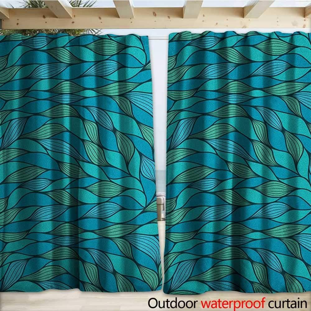 Cortinas para Puerta correderas Impermeables, diseño Abstracto de Ondas, diseño de océano, Estampado de Vida Marina 108 x 96 cm, Color Azul Menta Verde: Amazon.es: Jardín