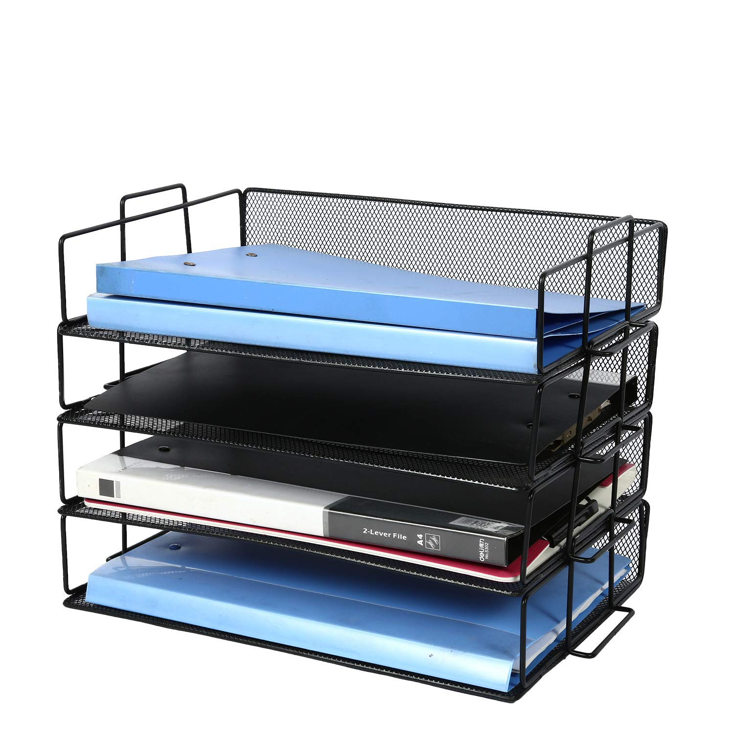 4-Tier Stackable Paper Tray Desk Organizer and Metal Mesh Office File Organizer for Folders Binders Business Home and School, Black by AI VINNY
