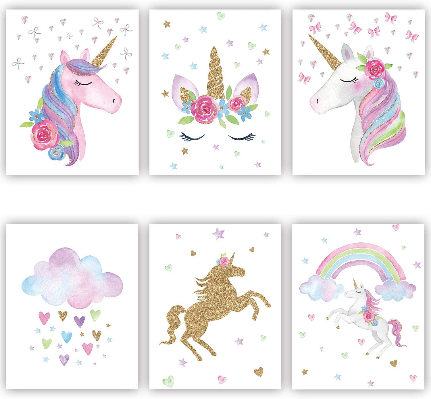 Rainbow Unicorn Canvas Print Wall Art for Girls Kids Bedroom Nursery Painting Cute Posters 6 Pieces 8x10 Inch No Frame