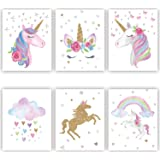 Rainbow Unicorn Canvas Print Wall Art Unicorn Pictures Posters for Girls Kids Bedroom Nursery Decoration 6 Pieces 8x10 Inch No Frame