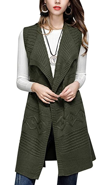 Amazon.com: gihuo Fashion sin mangas de la mujer Knit ...