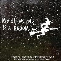 JKGHK Mijn andere auto is bezem grappige auto sticker vinyl sticker zilver/zwart auto bumper venster-CK2354 zilver_30x11…