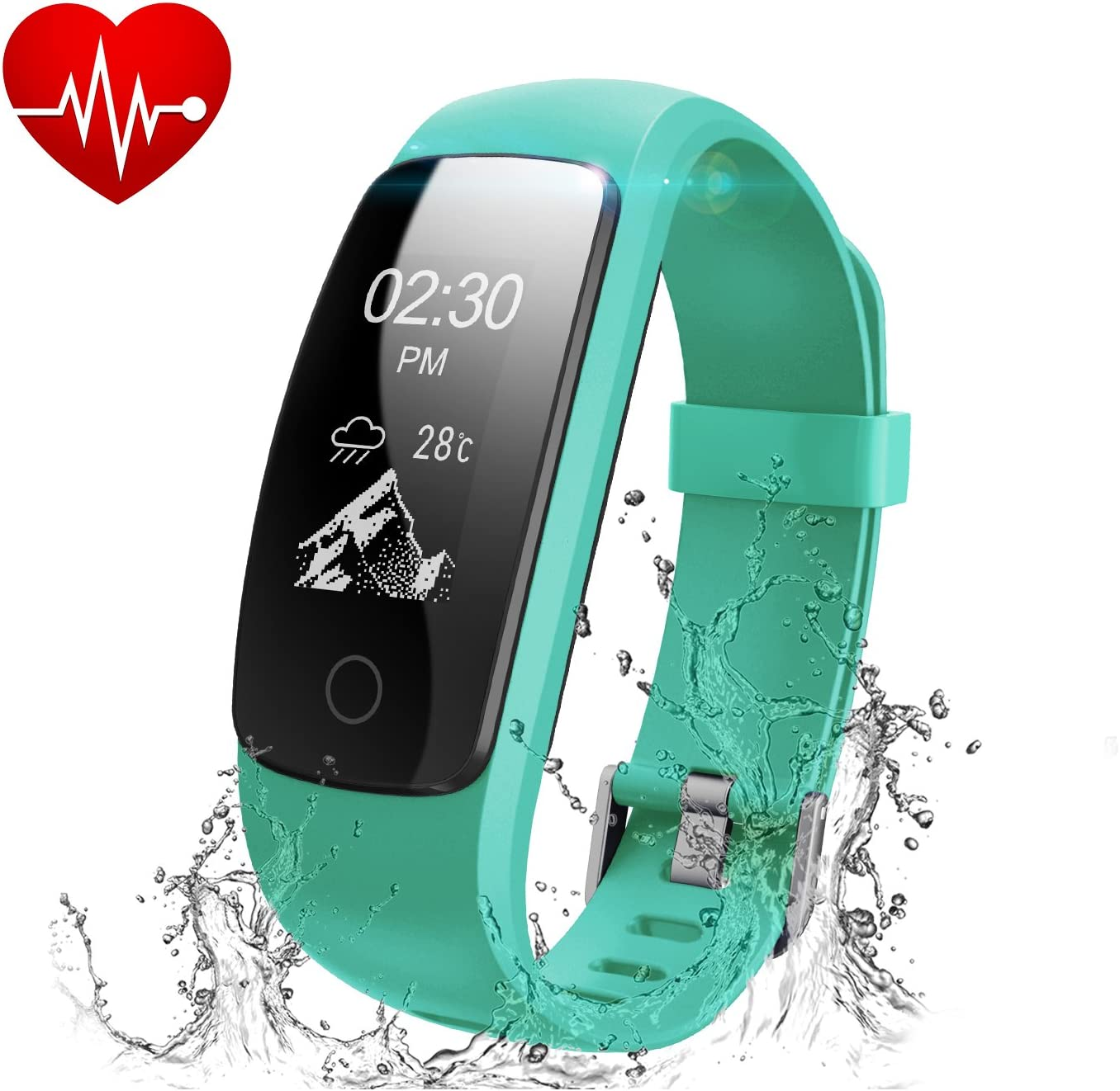 Runme Activity Tracker con Cardiofrequenzimetro, Bracciale Collegato Bluetooth 4,0 Braccialetto, Monitoraggio Battito Cardiaco, Pedometro, Sleep Tracker, Braccialetto per Fitness per Cellulare iOS/Android