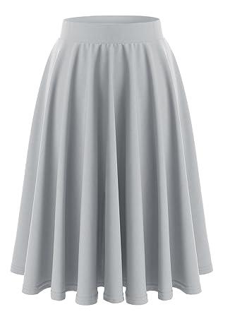 Wedtrend Jupe Femmes Fille Midi Taille Haute Vintage Élégante Jupe Basique  Plissée Patineuse Elastique Plissé Casual 7029f6f078be