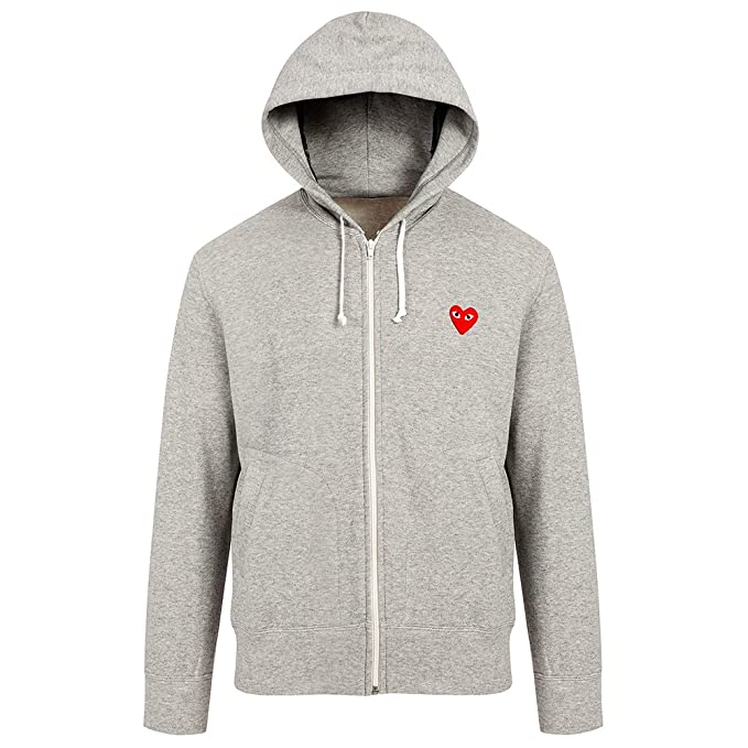 7a0154f428f7 Comme des Garcons Play Men s Red Heart Patch Zip Hooded Sweatshirt P1T168  Grey ...
