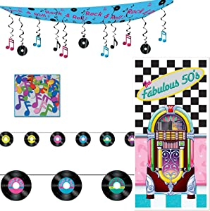 Fabulous 50s Door Cover Rock n Roll Ceiling Decor Record Streamer Music Note Confetti 4 Piece Bundle