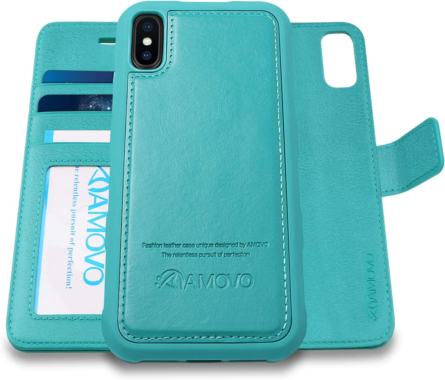 AMOVO [Upgraded] Case for iPhone Xs Max [2 in 1] iPhone Xs Max Wallet Case Detachable [Wireless Charging] [Vegan Leather] iPhone Xs Max Flip Case with Gift Box Package (XSMAX (6.5'') Aqua)