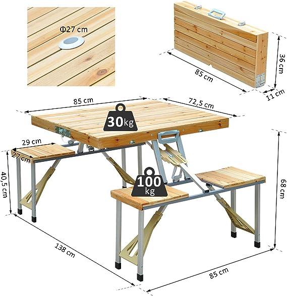 la terrasse et Le Balcon com-four/® Table Pliante en Bois de qualit/é sup/érieure Table dappoint Table en Bois pour Le Jardin Table de Jardin Pliante pour Le Camping