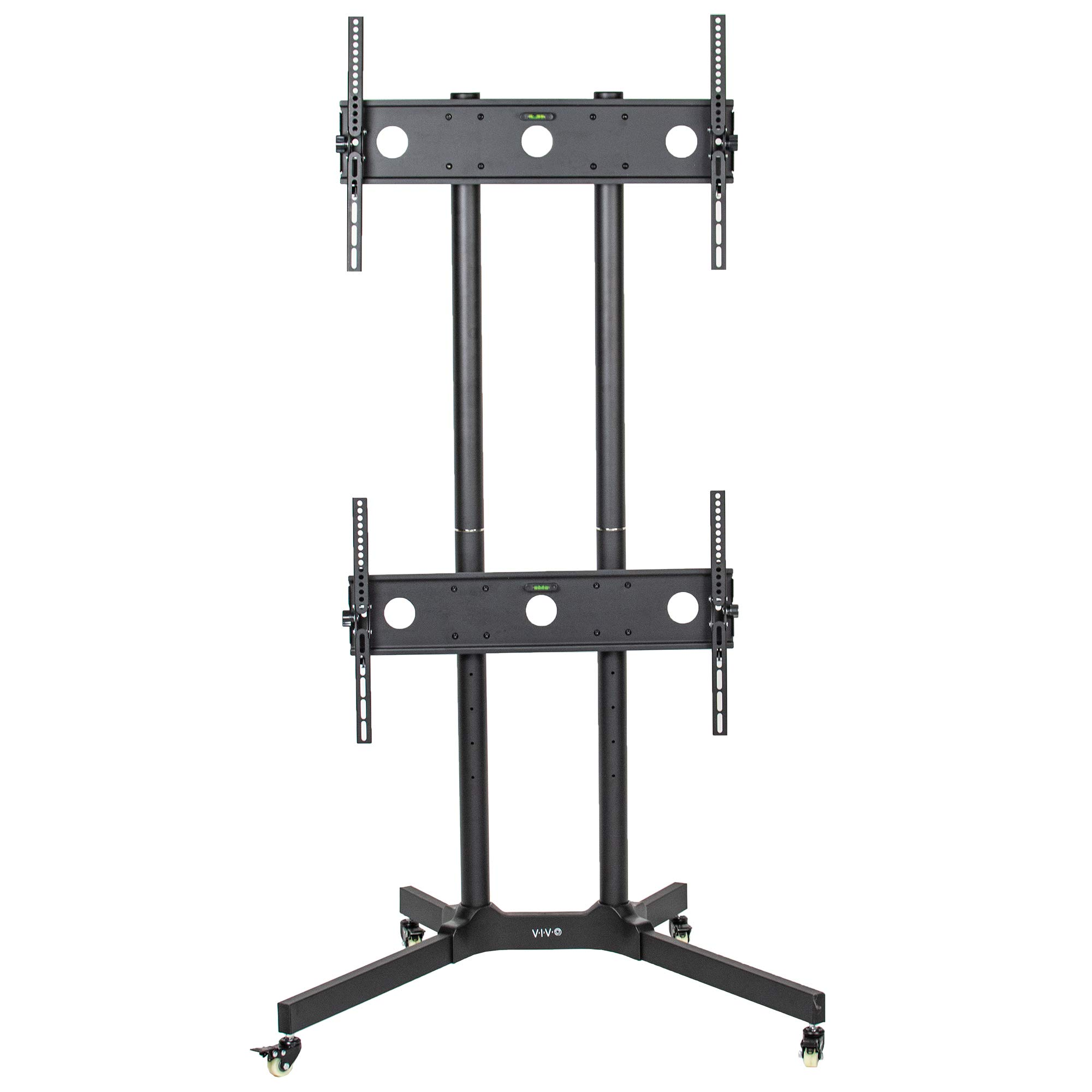 VIVO Black Rolling Dual Screen TV Cart for 32 to 65 inch LCD LED Plasma Flat Panel Screens | 2 Screen Mobile Stand with Wheels (STAND-KIT-TV03E) by VIVO