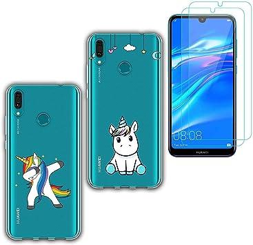 jrester 2 X Funda Huawei Y7 2019,Unicornio Suavee Silicona ...