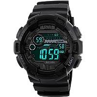 Digitale Sport Horloge Waterbestendig Outdoor Dual Time Groot aantal 12H/24H Tijd Mannen Jongen Zwart 1243