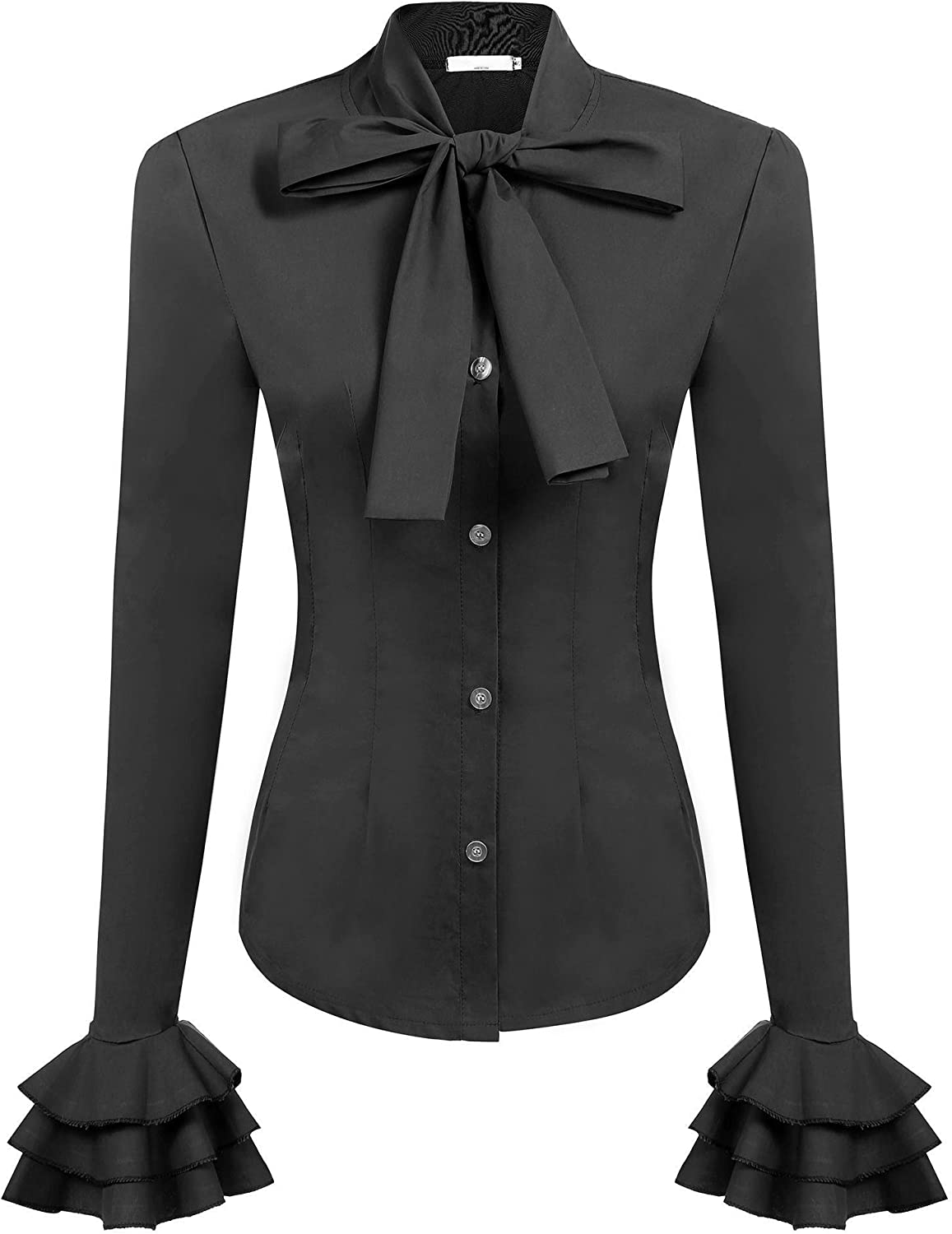 Zeagoo Women Bow Tie Neck Blouses Work Tops Long Sleeve Casual Button Shirts