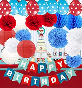 Qian's Party Dr. Seuss Cat in The Hat Birthday Party Decorations/Dr Seuss Decor Turquoise White Red Happy Birthday Banner Airplane Birthday Decorations Red Blue Balloons