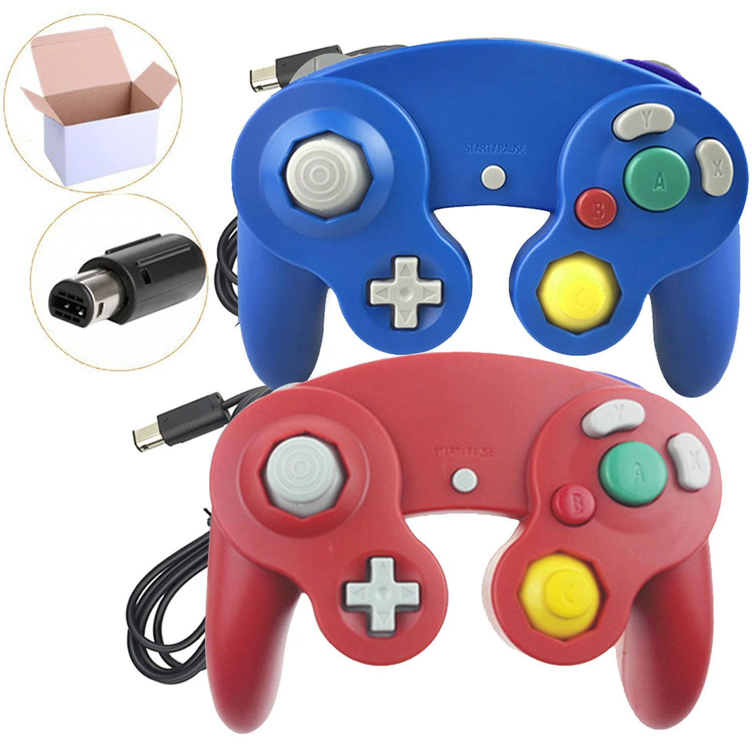 Poulep 2 Packs Classic Wired Gamepad Controllers for Wii Game Cube Gamecube Console (Blue and Red)