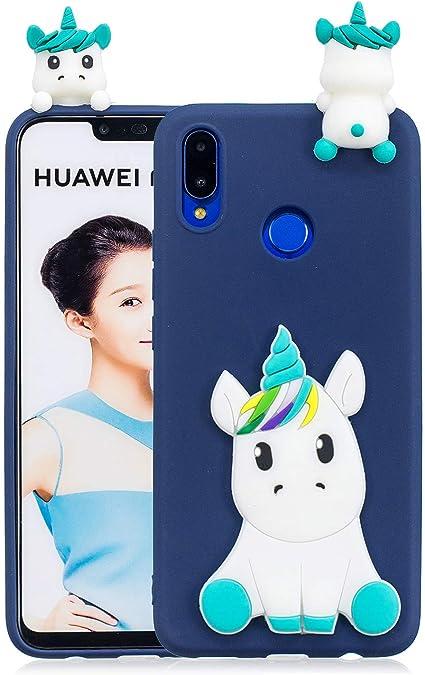 Leton Coque Huawei P Smart 2019 Silicone Coque Huawei P Smart 2019 3D Motif Licorne Bleu Housse Huawei P Smart 2019 Antichoc TPU Souple Étui Cute ...