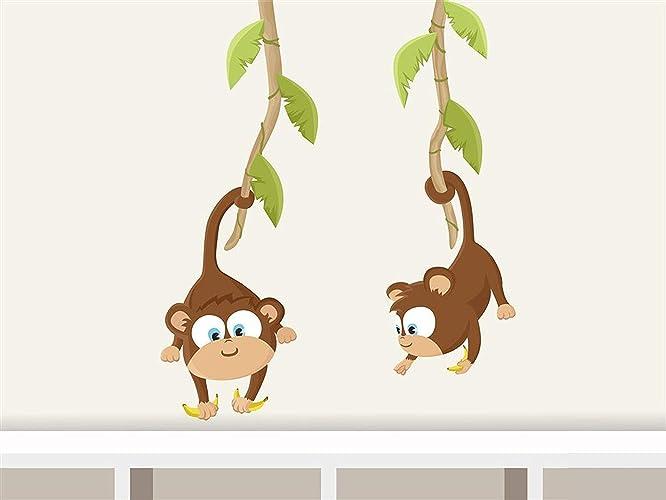 Wandtattoo Baby Affen Wandaufkleber für Kinderzimmer Tiere: Amazon ...