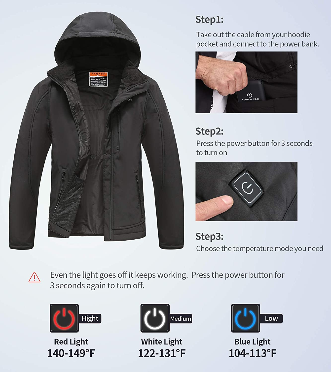 MYHEAT MHMen Women's Soft Shell Heated Jacket andFleece Liner, with7.4V Battery: Clothing