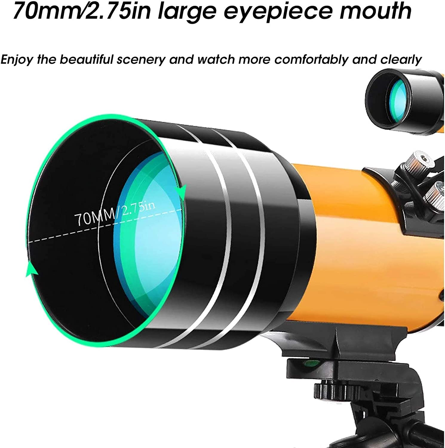 Portable Telescope for Beginners Phone Adapter 70mm Aperture Refractor Telescope for Stargazing Sun Film Smart Finder with Tripod Bac Magnetic Indoor Exercise Bike Telescopes for Adults Kids