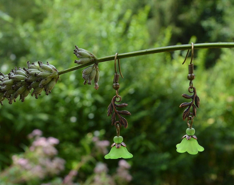 Fern leaf and flower earrings in apple green botanical plant jewelry