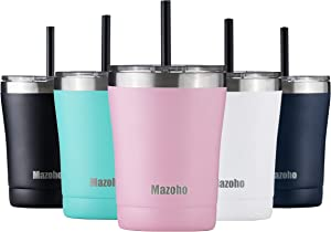 Mazoho 10oz Tumbler With Lid and Straw,Double Wall Stainless steel Vacuum Insulated Tumbler Cup With Splash Proof Sliding Lid,Travel Coffee mug Powder Coated Insulated Coffee Cup(Pink)