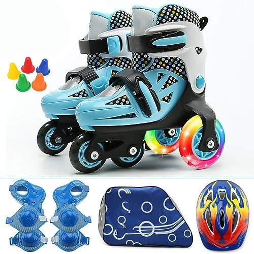 WWJLBX Patines de Ruedas Ajustables para niños Principiantes Ruedas de Doble hilera Juegos de Patines de Patinaje Sobre Hielo de 2 a 10 años U-Turn: ...
