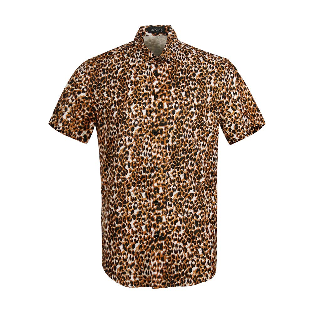 Mens Leopard Skin Print Disco Retro Style Shirt Button Down Casual Short Sleeve Shirt Brown by LINCINK