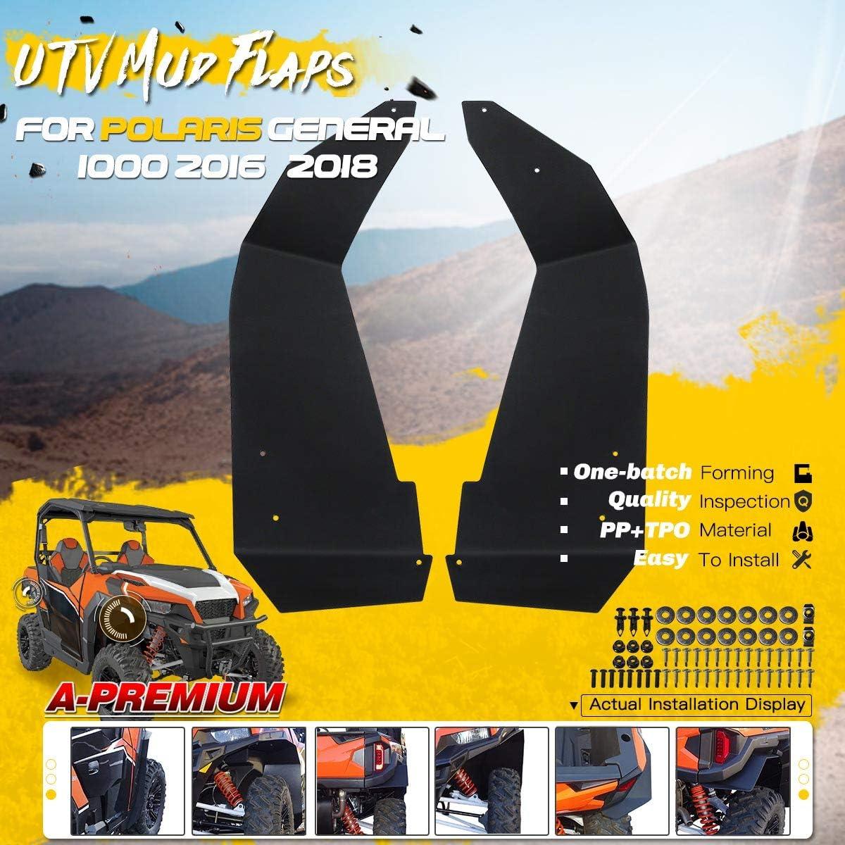 A-Premium UTV Mud Flaps Fender Flares Replacement for Polaris General 1000 2016-2019 General 4 1000 2017-2019 Front Side 2-PC Set