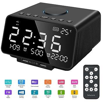Leyuee Radio Reloj con Alarma Altavoz Radio FM Digital Sonido estéreo Pantalla LED Grande Control Remoto Hora/Fecha/Temperatura con Doble Carga ...