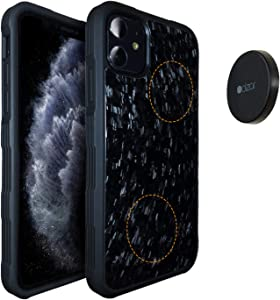Molzar Carbono Series iPhone 11 Pro Case with Genuine Forged Carbon Fiber, Built-in Metal Plate, Magnetic Phone Mount Included, Wireless Charging Support, Compatible with iPhone 11 Pro, Black