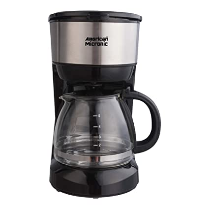 American Micronic-AMI-CM1-750Dx- 6 Cups, 750ML Coffee Maker with Reusable Filter (Black & Steel)