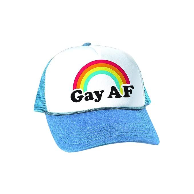 648ee9b122d Headline Shirts Gay AF Trucker Cap - Funny Novelty Graphic Mesh Back Hat  for Men and