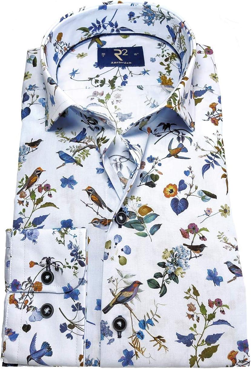 R2 Amsterdam Camisa de Manga Larga Modern Fit Flora Fauna impresión extralarga Brazo 72 cm: Amazon.es: Ropa y accesorios