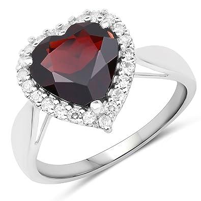 1 Ct Garnet Heart Ring .925 Sterling Silver Edelsteine