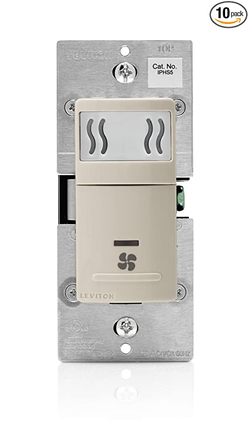 Leviton IPHS5-1LT Humidity Sensor & Fan Control, Single Pole, 10 ...
