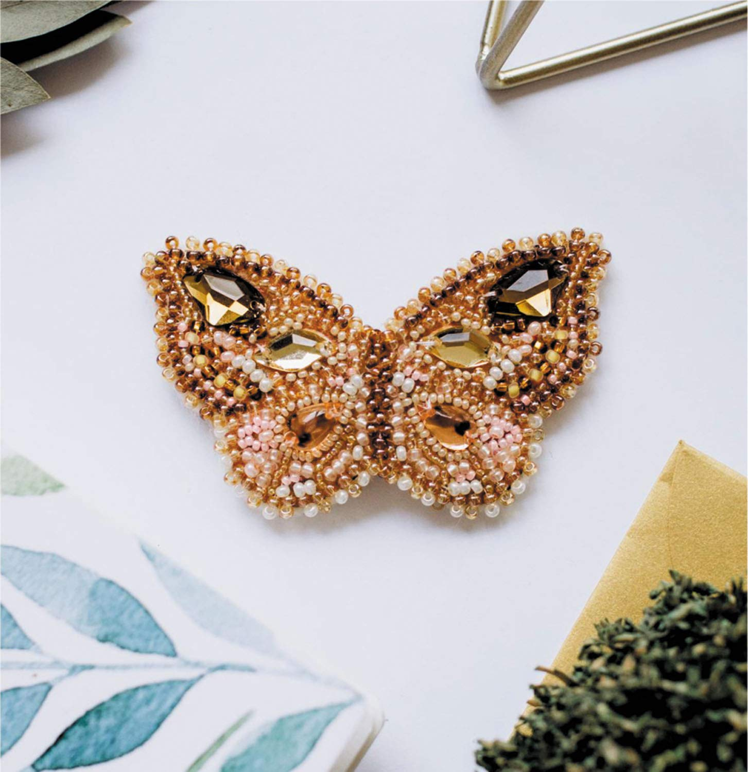 Abris Art Citrine Reflection DIY Bead Embroidery Brooch kit AD-031 Butterfly Magnet Needlework Modern Embroidery-Decoration Craft