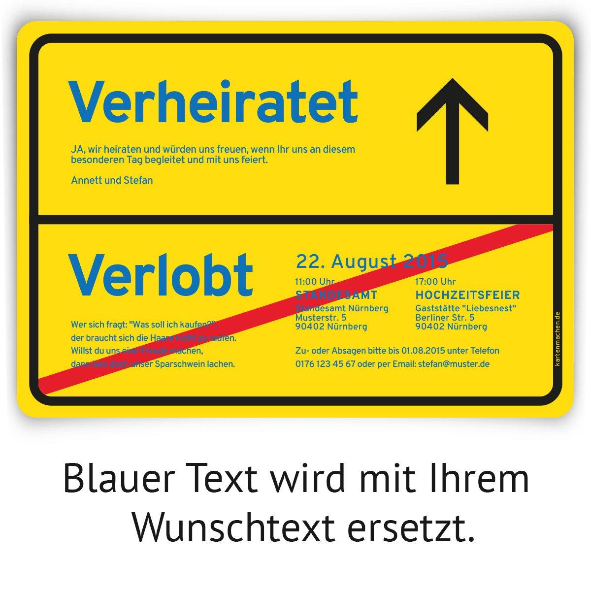 Einladungskarten zur Hochzeit als Ortsschild Gelb Stadt Schild Ortstafel Ort