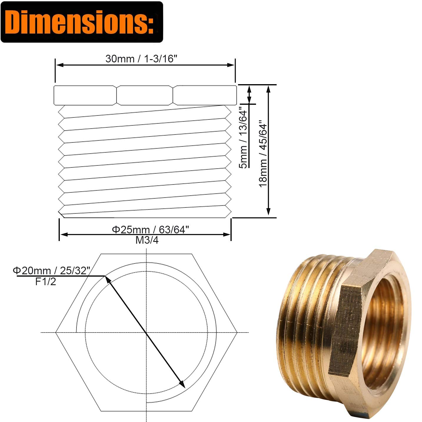 Amazon com: HWMATE Brass Pipe Fitting Hex Bushing G3/4