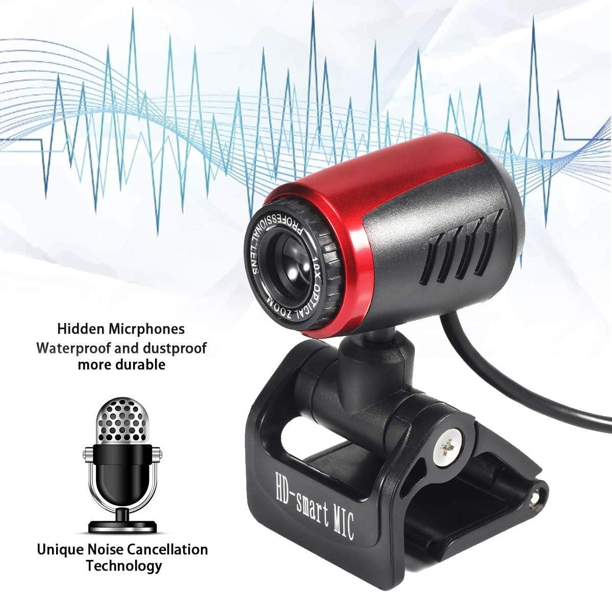 OhhGo Computer Webcam with Microphone 0.8 Megapixel USB 2.0 Rotatable Camera Desktop PC HD Video Webcam