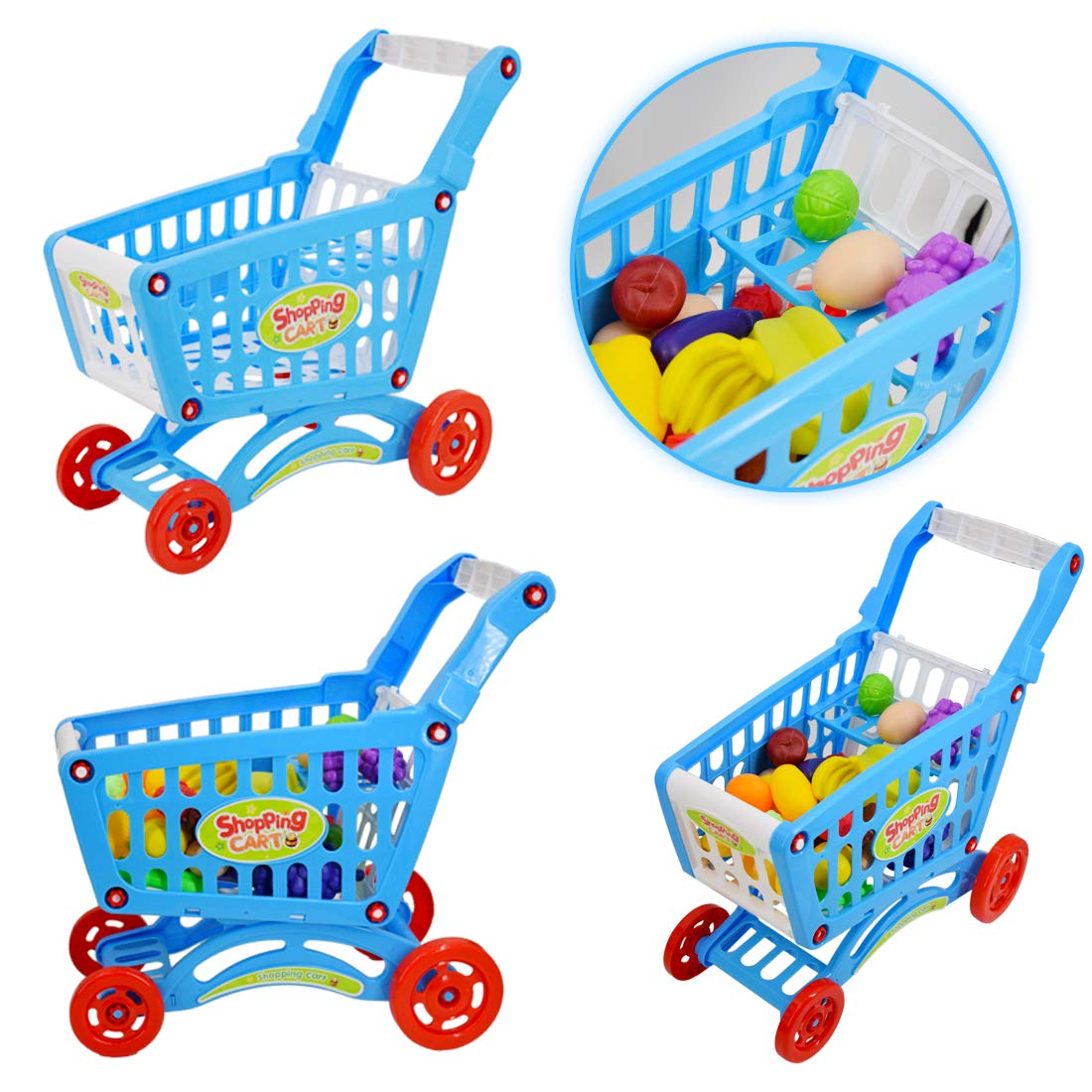 d77163ebc66e deAO Kids Supermarket Stall Toy Shop and Shopping Trolley Car with Play Food  fruit Vegetables Grocery Accessories: Amazon.co.uk: Toys & Games